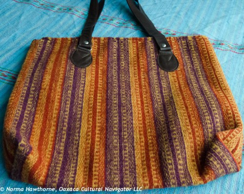 "Handbag, approx. 14""x16"", $85 + shipping. Handwoven, leather straps, zipper, lined."