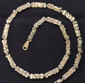 """17"""" long necklace, 1/4-1/2"""" wide, $295 USD"""