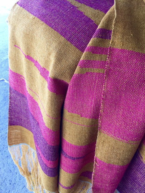 Ikat wool rebozo colored with pomegranate and cochineal