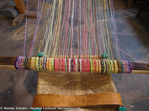 Over 4,500 threads make up the warp of this back strap loom