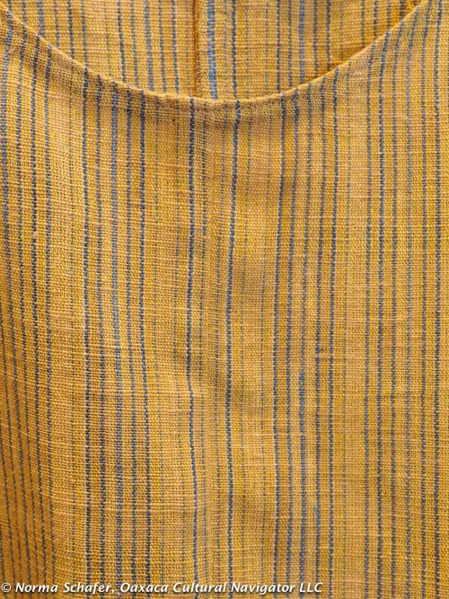Khadi Oaxaca fabric close up, with neckline detail. Organic handspun cotton: indigo, coyuchi, pericone.