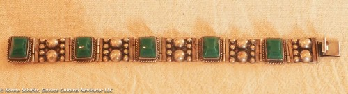 "Art Deco Jadeite Sterling Silver Ball Bracelet, with rope detail, 8"" long, $155"