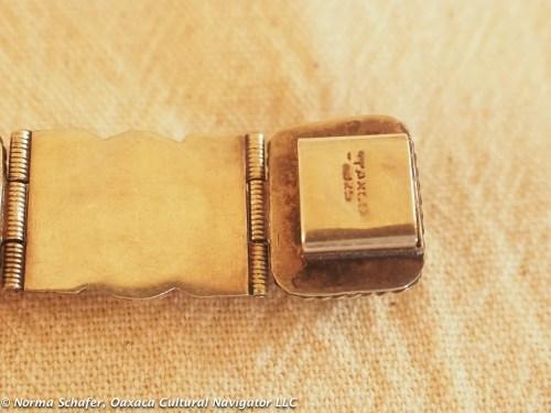 12B. Jadeite + Sterling Bracelet clasp detail.