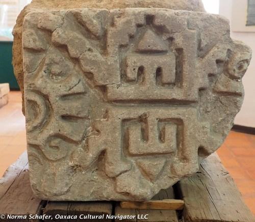 Ancient Zapotec temple stone, Teotitlan del Valle Community Museum