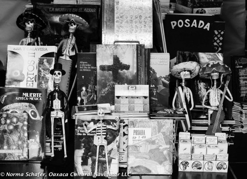 At Amate Books on Alcala, a selection of titles on Muertos.