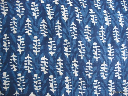Indigo block print on cotton and silk, from India