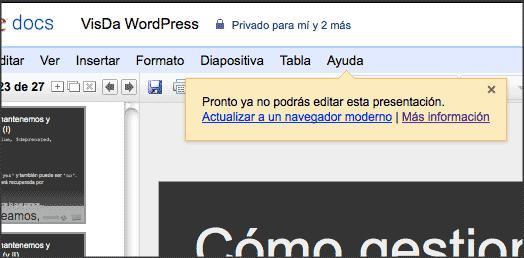 Un cuadro de texto en Google Docs alerta de la necesidad de actualizar a un navegador más moderno