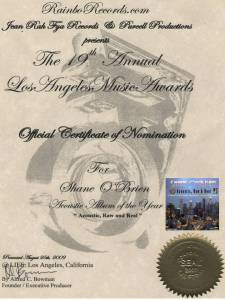 """19th Los Angeles Music Awards 2009 Nomination for Shane O'Brien"""