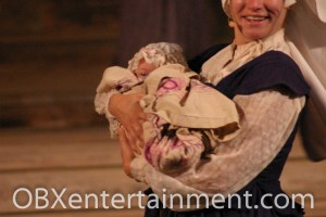 """Three-month-old Ozzie Artz of Kill Devil Hills starred as """"Baby Virginia Dare"""" in the christening scene in 'The Lost Colony' on August 18, 2007. (photo: Artz Music & Photography)"""