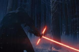 Kylo Ren fires up his light saber in 'Star Wars Episode VII: The Force Awakens'.