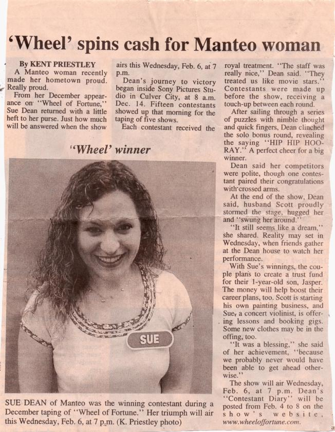 'The Coastland Times' interviews Sue Artz about her appearance in 'Wheel of Fortune'.