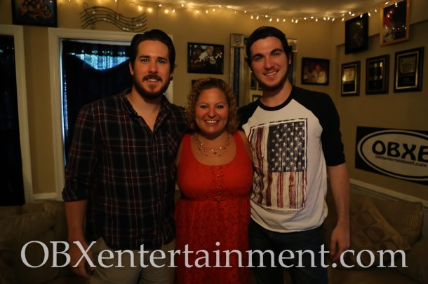 'The Lost Colony' actors Payne Hopton-Jones and Daniel Gonzalez with Sue Artz on the set of the OBX Entertainment web series 'OBXE TV' on July 19, 2014. (photo by OBXentertainment.com)