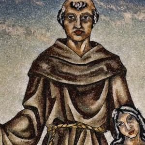 BLESSED JUNIPERO SERRA IS DEPICTED WITH A CALIFORNIA INDIAN IN A PAINTING IN EARLY MAY AT MISSION SAN FERNANDO REY DE ESPANA IN MISSION HILLS, CALIF. / PHOTO: (CNS PHOTO/NANCY WIECHEC)