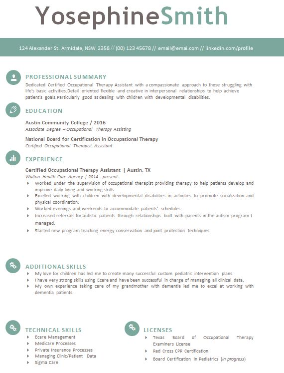 occupational therapy resume template download  u0026 tips to