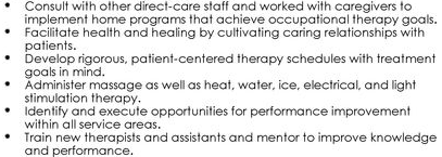 Unique Examples of Occupational Therapy Resume Experience