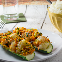 Shrimp Stuffed Zucchini Boats