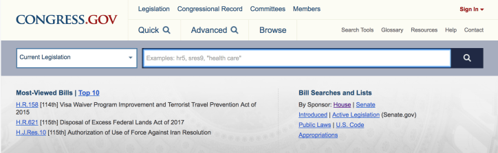 Home page of Congress.gov - track legislation and become a bill expert!