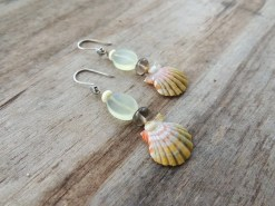 Ocean Tuff Jewelry - Sunrise Shell Earrings with Jade & Smoky Quartz