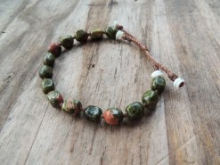 Ocean Tuff Jewelry - Adjustable Unakite Bead Bracelet