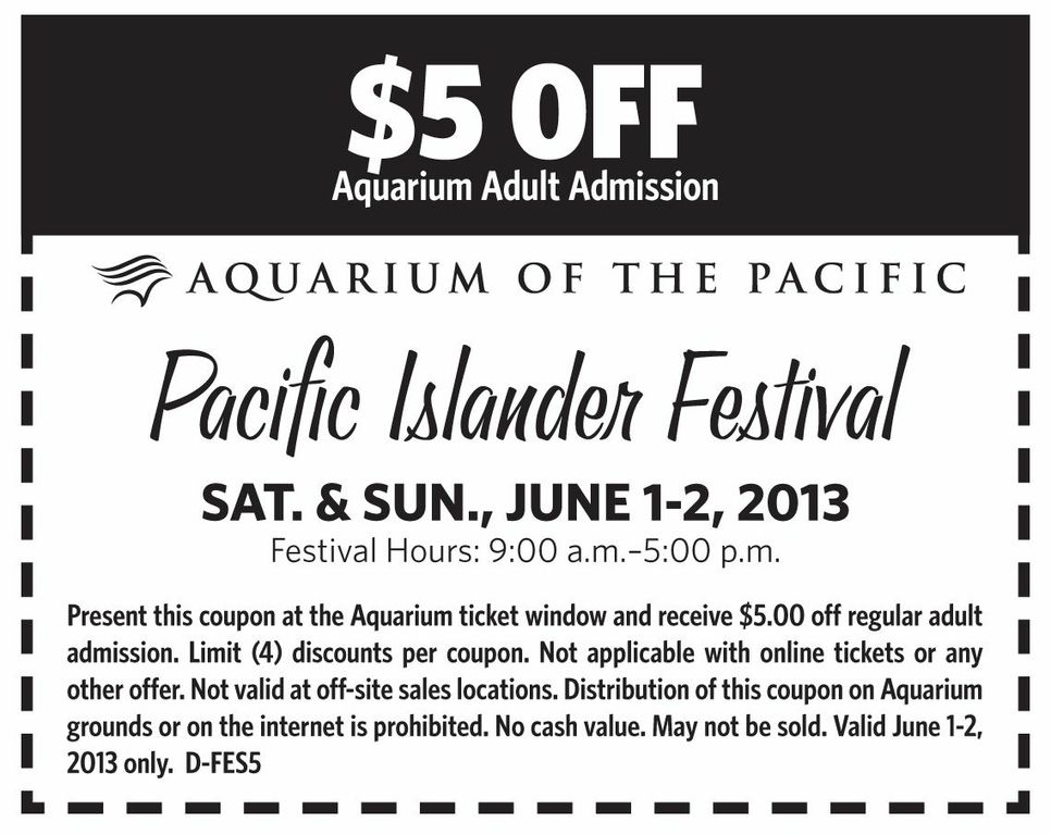 Discount coupons to aquarium of the pacific