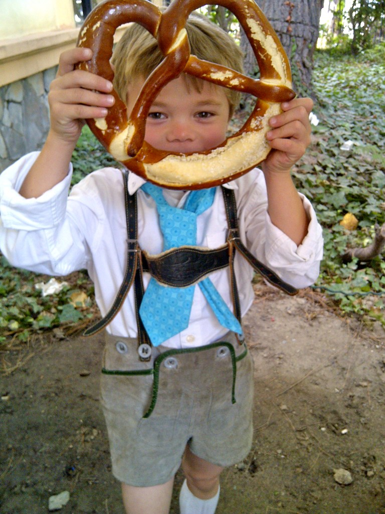 Boy in Lederhosen and Brezel