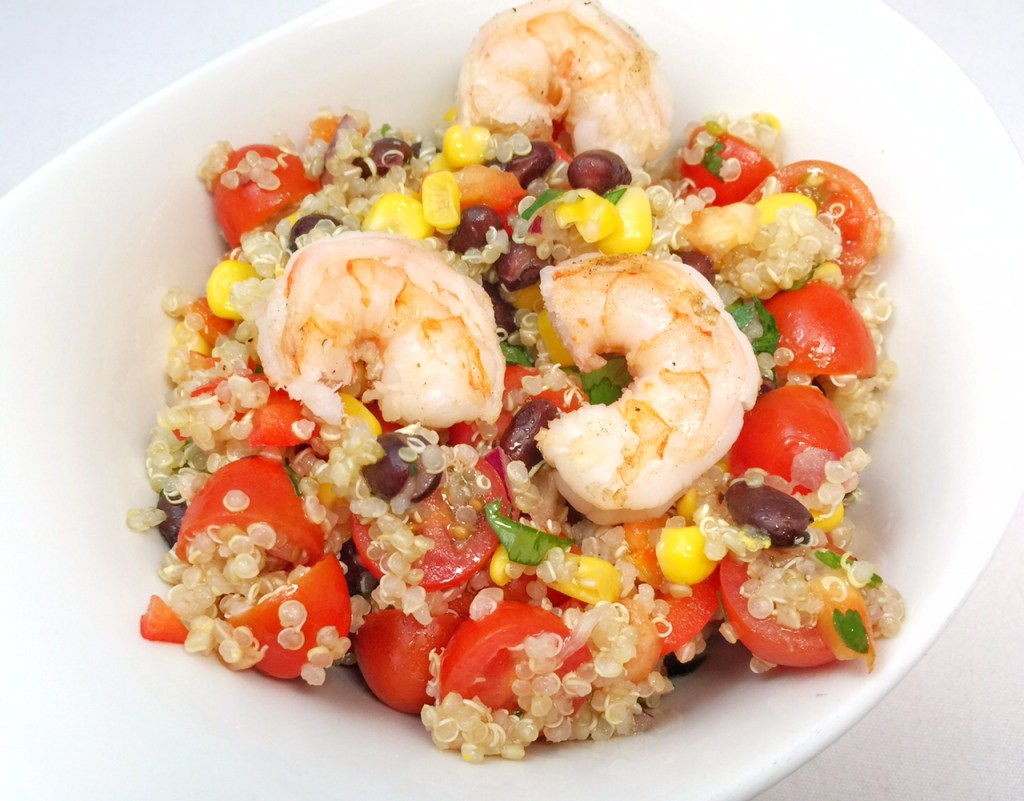 Fiesta Quinoa Salad with Garlic and Lime Grilled Shrimp | OC Mom Blog