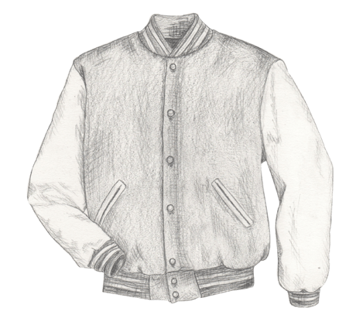 Sketch of a classic varsity jacket.