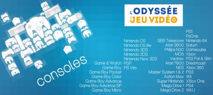 L'Odyssée du Jeu Vidéo (Cherbourg), liste des consoles