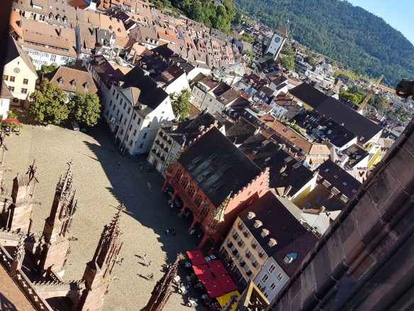 The view from Freiburg Cathedral onto the main square