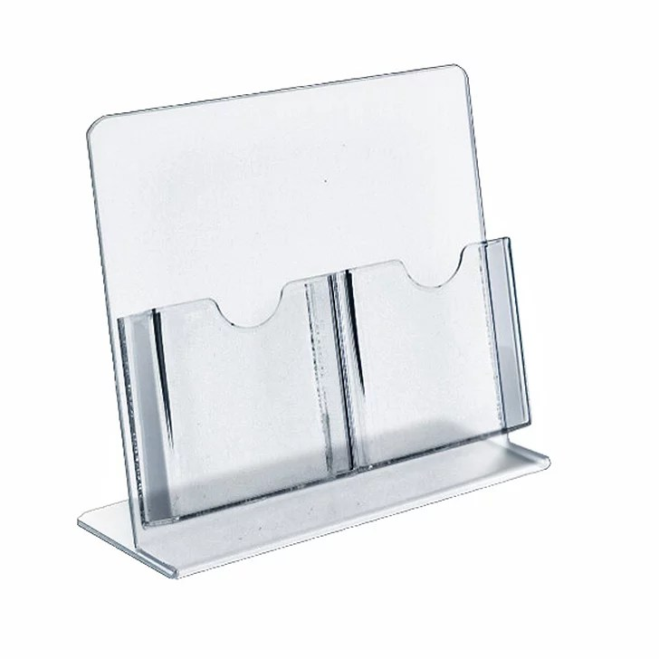 Azar Displays Slant Back Brochure Holders 2 Pocket 8 12 H x 9 W x 4     Azar Displays Slant Back Brochure Holders 2 Pocket 8 12 H x 9 W x 4 D Clear  Pack Of 2 Holders by Office Depot   OfficeMax
