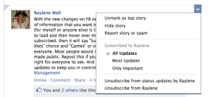Facebook Newsfeed Subscribe Options