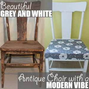 Beautiful Grey and White Antique Chair with a Modern Vibe