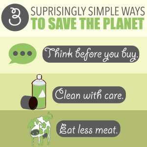 Ways to Help the Environment by Of Houses and Trees | Looking for simple ways to help the environment on a day to day basis? Think before you buy, clean with care and eat less meat. That's it!