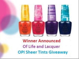 Winner Announced – OPI Sheer Tints Giveaway