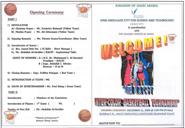 Opening remarks script just b cause for Basketball tournament program template