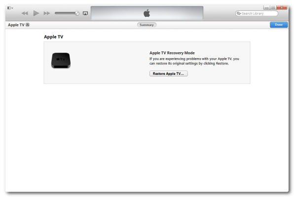 Restoring Apple TV 2 via iTunes