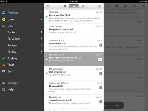 Mailbox for iPad inbox menu