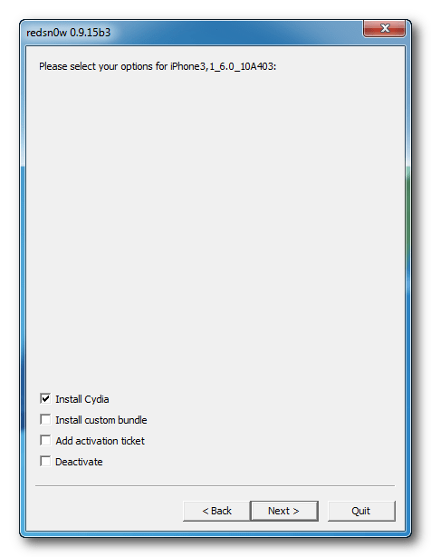 Redsn0w: Check install Cydia Option