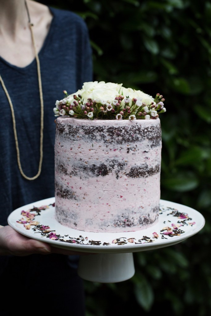 valentine's day tea and chocolate cake with raspberry rosewater buttercream // ohhoneybakes.com