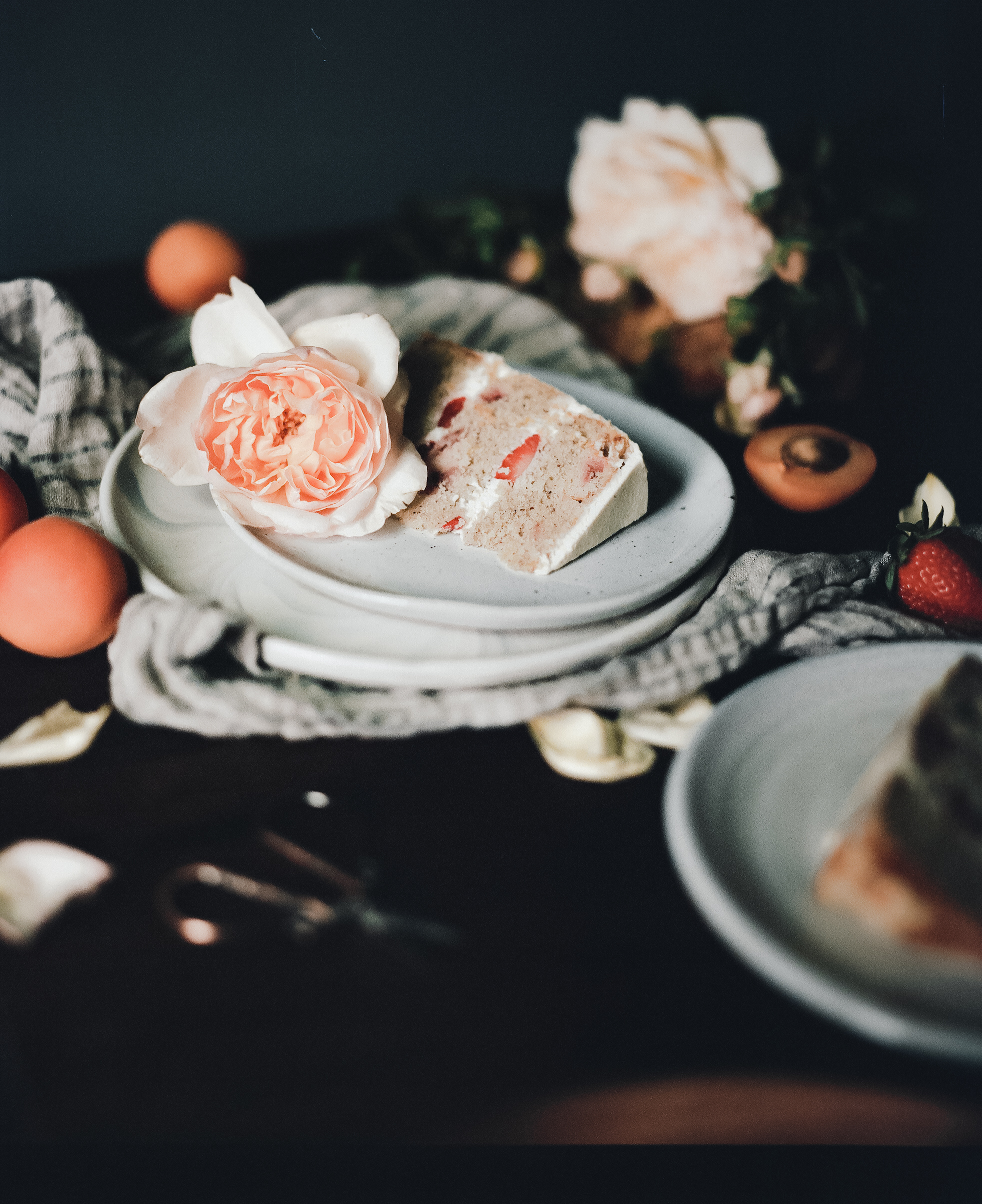 ohhoneybakes.com // strawberry and apricot cake with whipped mascarpone cream (gluten-free)