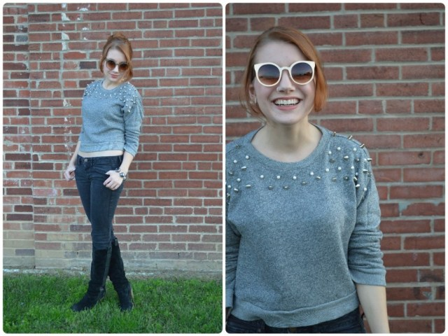 Grey Embellished Sweatshirt with Black Skinny Jeans and Boots (ed4)