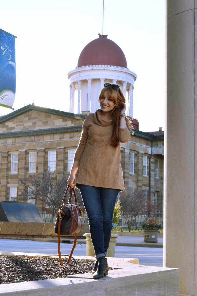 Outfit - Cowl Neck Sweatshirt Tunic with Naturalizer Leopard Booties and Anthropologie Satchel (1)