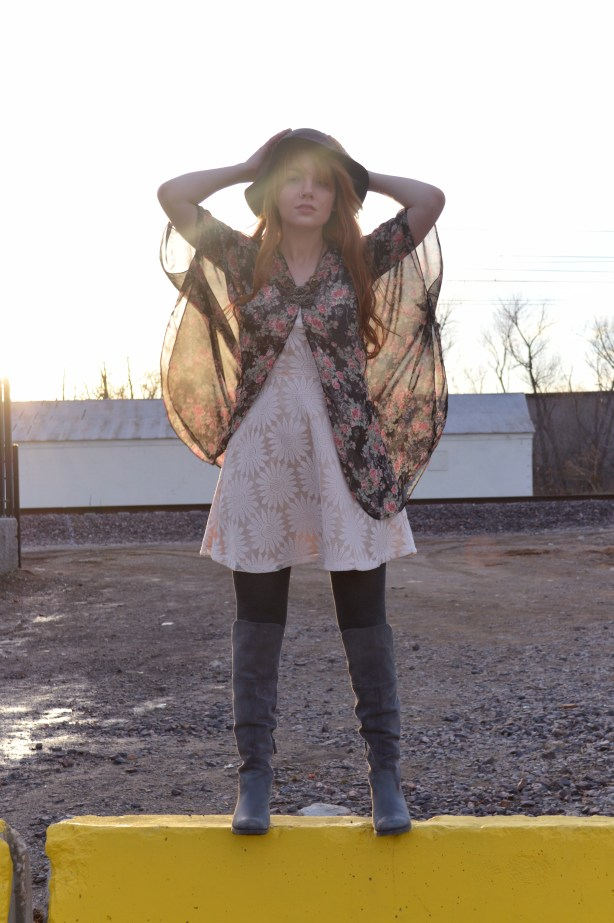 floral kimono with lace dress and boots (2)