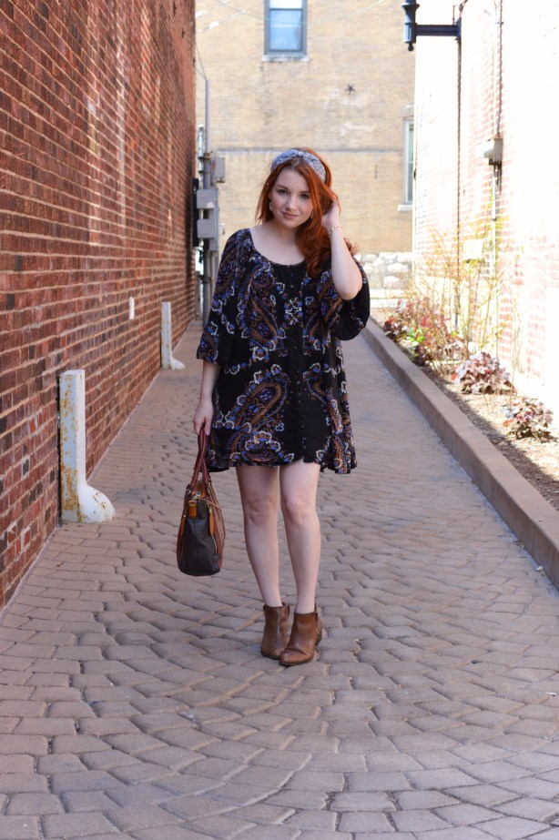 Free People Dress with Anthro Headband and Naturalizer Booties Outfit - Oh Julia Ann - St Louis Fashion Blog (1)