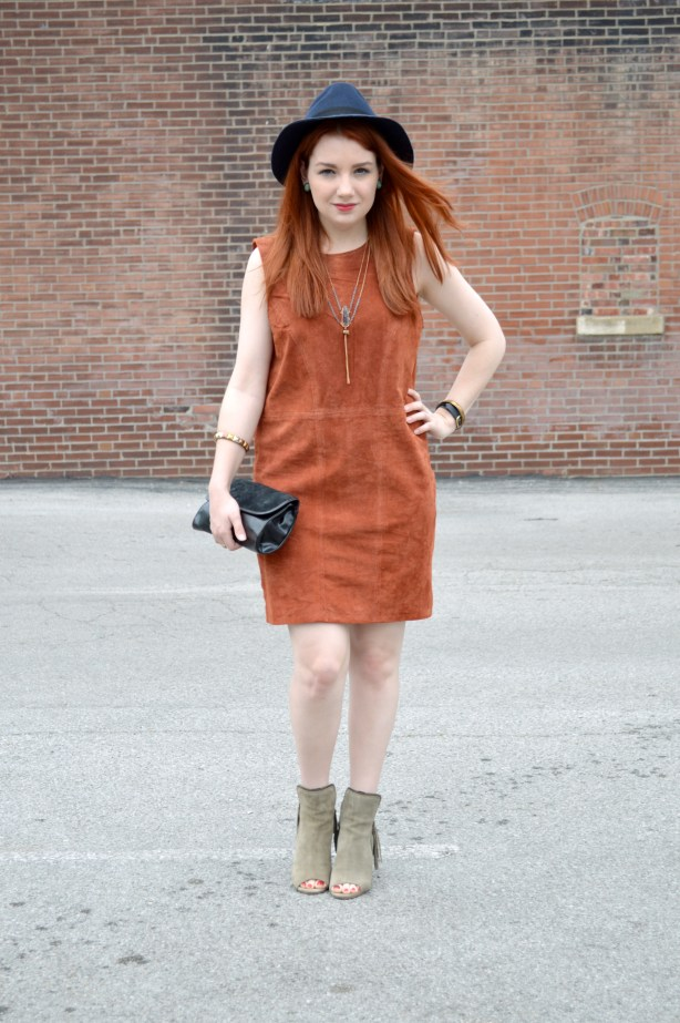 Oh Julia Ann - Suede Tobi Shift Dress with Peep Toe Fringe Diba True Booties and Lace Bralette Outfit (1)