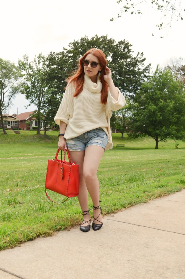 Oh Julia Ann Summer Outfit that Transitions to Fall - Free People Turtleneck Pullover Sweater with Denim Cut Off Shorts, Kendra Scott Caroline Earrings, Lace Up Flats  (1