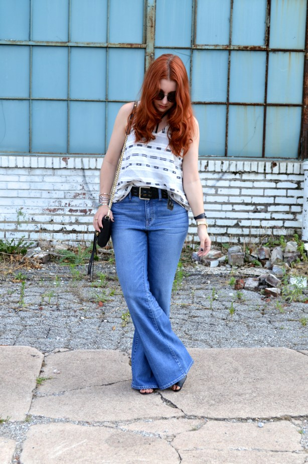 Tobi Strappy Bralette with Open Back Tank and Madewell Flea Market Flares Summer Denim Outfit - Oh Julia Ann (4)