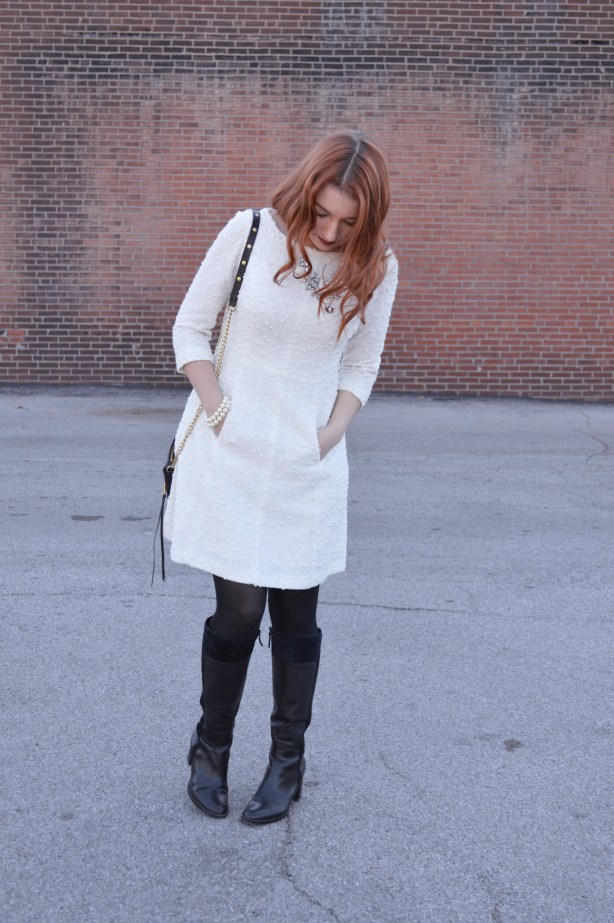holiday-outfit-idea-from-ohjuliaann-com-winter-white-sparkly-dress-with-black-boots-and-tights