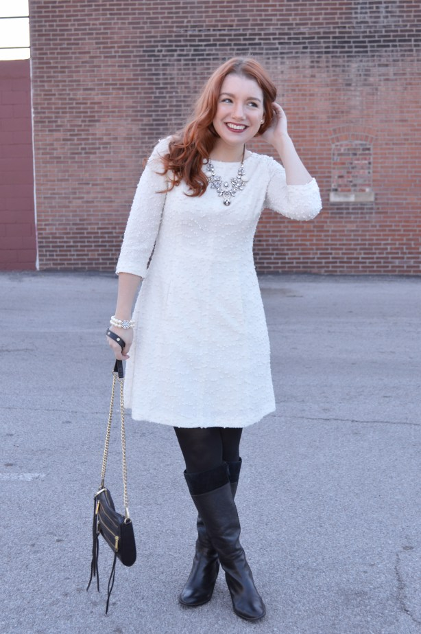 holiday-outfit-from-ohjuliaann-com-winter-white-sparkly-dress-with-black-boots-and-tights