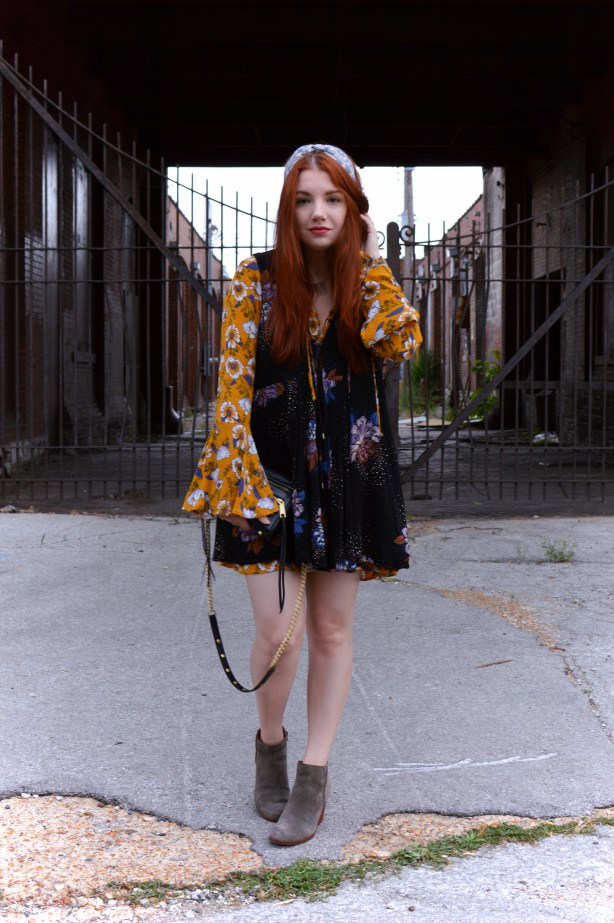 Layered floral boho dresses from Target and Free People with Suede Booties - Full summer outfit at OhJuliaAnn.com
